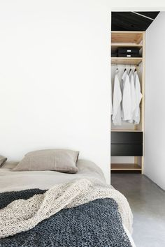 Platform Bed Ideas - Think platform beds are simply for modern-style rooms? Success Gallery reveals you platform beds that fit any kind of design bed room. Home Bedroom, Bedroom Decor, Bedroom Ideas, Bedroom Wardrobe, Budget Bedroom, Master Bedroom, Bed Ideas, Wardrobe Behind Bed, Alcove Wardrobe