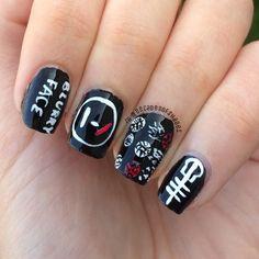 Twenty one pilots nail art Cute Nail Art, Cute Nails, Hair And Nails, My Nails, Band Nails, Twenty One Pilots Art, Top Nail, Nail Inspo, Cool Bands