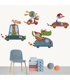vinilo infantil coches felices