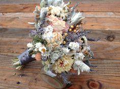 Champagne Collection - Bridesmaid Bouquet - Dried Flower Bouquet - Wedding Bouquet - Romantic Vintage Lavender Peony Bridal. $29.95, via Etsy.