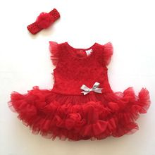 d1f8adb2f Price tracker and history of Infant Baby Girl Clothes Newborn Baby Girls  Flower Headband+Bodysuit Tutu Clothing Set Hot Red Jumpsuit Playsuit Clothes