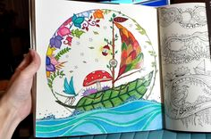 Coloring page in progress of the leaf sailboat page in the Enchanted Forest Coloring Book
