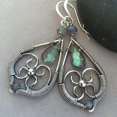 Sterling Silver Earrings with Labradorite