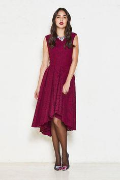 Alannah Hill bridesmaid dress | Diamond in the Dark | Plum | Burgundy | Dark Red | Mid Length | Lace