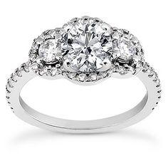 Three Stone Diamond Halo Engagement Ring