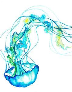 Blue Jellyfish Watercolor Print - Fun - Colorful Art - Painting - Animals: