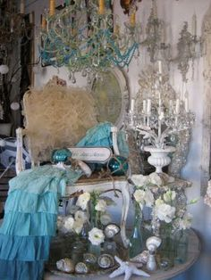 love sea shells chandelier (making one this summer!!!) candelabra Vignette's - french antique store in SD