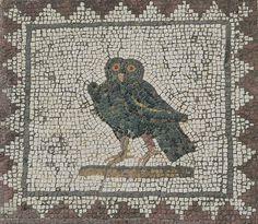 Roman #Mosaic. Owl. #Italica, #Seville, Spain./ #Mosaico romano de un búho, en Itálica, #Sevilla, España.