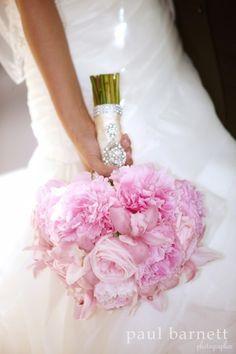 Love an all pink peonies bridal bouquet. Adorations Botanical Artistry. Paul Barnett Photography