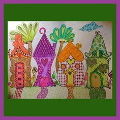 Valentangle 2017 Day 14 Home is where the heart is ❤️ Waiting at the garage this morning (without the right tiles) I got a bit carried away with the prompt 😬. I build a little fairy village instead of one house 🙈🙊🙉#valentangle2017 #valentines #hearts #zentangle #zentangleinspiredart #zia  #homeiswheretheheartis #fairyhouse