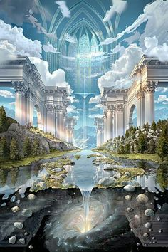 John Stephens visionary art … the world is a temple to love, to preserve - Education Fantasy Places, Fantasy World, Dark Fantasy, Fantasy Artwork, Art Visionnaire, Kunst Poster, Fantasy Kunst, Fantasy Landscape, Landscape Art