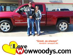 "Randall Ross from Jamesport, Missouri purchased this 2014 Chevrolet Silverado and wrote, ""5 stars, it was great as always."" To view similar vehicles and more, go to www.wowwoodys.com today!"