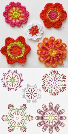 Bees and Appletrees (BLOG): bloemen haken - crochet flowers
