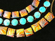 Chain bracelets, polymer clay by Karen Brueggemann