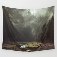 "WALL TAPESTRY	/ MEDIUM: 68"" X 80""  Kevin Russ (kevinruss) Foggy Forest Creek by Kevin Russ $59.00"