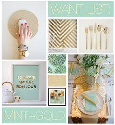 mint + gold inspiration board