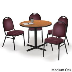 Round 36-inch Pedestal Table with 4 Armless Stacking Chairs -inch Burgundy Vinyl