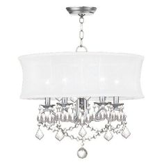 Livex Lighting 6305 5 Light 300 Watt Chandelier with Off White Silk Shimmer Shade from the Newcastle Collection
