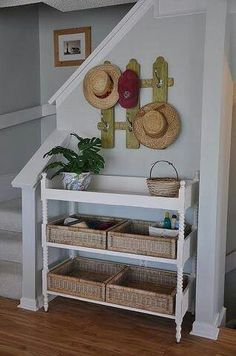 Upcycled Baby Changing Table Becomes A Basket Storage Unit. Mini Picket  Fence Is A Cute Hat/dog Leash Storage Piece That Also Functions As Wall Art.