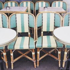Aqua Striped French Bistro Chairs Make Me Want To Go To Paris Again.  Habitually