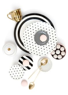 Prop and Product Styling by Shay Cochrane for Adrienne Bosh of Sparkle and Shine Darling. Black and white polka dots. Gold tea cup from Miss Etoile. Flat Lay Photography, Prop Styling, House Party, Dinnerware, Home Accessories, Tea Cups, Polka Dots, Pottery, Plates