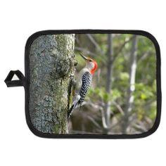 Red Headed Woodpecker Pot Holder  leatherwooddesign.com  #zazzle #oven #kitchen