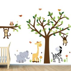 jungle nursery decals tree wall decal monkey wall decal lion decal