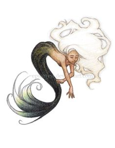 """""""Coconut Cream"""" by epicmyst.devianta... (me!) One of my favorites. The colour combination of a coconut inspired this mermaid, particularly. Drawn for a friend of mine with classic crayons. - Sara F."""