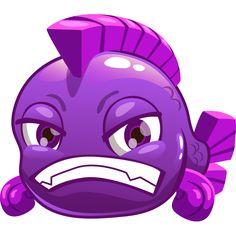 Purple Grouchy Fish Emoji