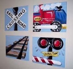 Choo choo stuff for the little boy walls