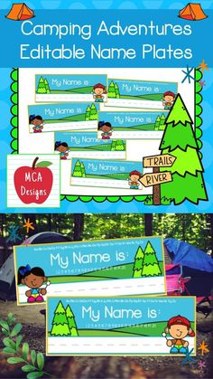 """This colorful set of name plates is part of my Camping Adventures Classroom Decor collection. I have included 3 styles for you to choose from. In addition to my """"print & go"""" name plates, I have also included an """"editable"""" file so you personalize the name plates to suit your needs. My Camping Adventures Editable Name Plates are accented with bright colors and camping themed graphics! #teacherspayteachers #tpt Classroom Organization, Classroom Management, Classroom Decor, School Resources, Classroom Resources, Teacher Resources, 1st Grade Activities, 5th Grade Classroom, Elementary Education"""