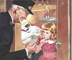 """""""Do Not Disturb"""" (Chesapeake and Ohio Railway calendar art from by artist Floyd Cheney). // the kitten image was on a set of sheets I had as a child (which, you may have guessed, were my favorite sheets) Train Art, Gif Animé, Norman Rockwell, Vintage Cat, Children's Book Illustration, Vintage Travel, Vintage Children, Belle Photo, Vintage Advertisements"""