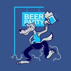 Shop Wolf beer party cartoons classic cartoons t-shirts designed by PenPencils as well as other cartoons merchandise at TeePublic.