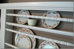 reuse old crib side for plate rack