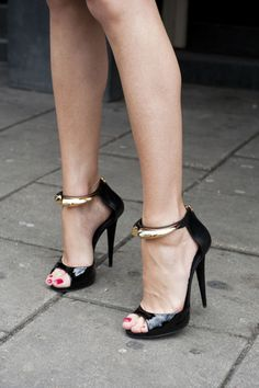 Sexy black and gold sandals