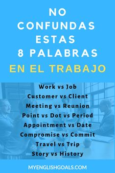 8 palabras que no debes confundir en el trabajo. #aprenderingles #LearnEnglish #BusinessEnglish #videosparaaprenderingles #profesoresdeingles #VideosToLearnEnglish #EnglishTeachers #EnglishLesson #clasedeingles #MyEnglishGoals English Resources, English Tips, English Book, English Study, English Class, English Lessons, Learn English, Better English, Perfect English