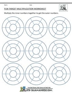 Here you will find our selection of Fun Multiplication Worksheets which will help your child learn their multiplication facts to Kindergarten Addition Worksheets, Math Worksheets, Math Games, Math Activities, Multiplication Wheel, Math Sheets, 3rd Grade Math, Grade 3, Second Grade