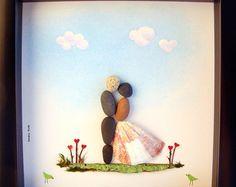 Un galet de verre Art cadeau de mariage  mariage Engagement