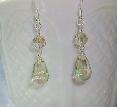 I Love Swarovski Luminous Green Dangle Earrings         by Alliaks, $17.00