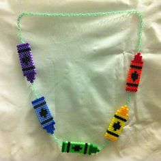 Perler bead Crayon Necklace(ILoved doing Perler beads with my kids and sister!)