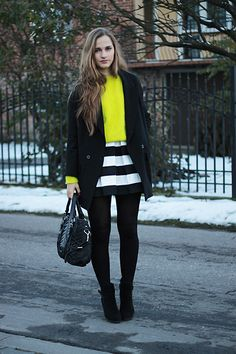 Stripes and neon sweater (by Karolina Sabała) http://lookbook.nu/look/4305179-Stripes-and-neon-sweater