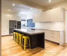 A modern, sleek, family kitchen designed with lots of storage and functionality. www.thekitchendesigncentre.com.au @thekitchen_designcentre