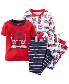 Carter's Boys' or Little Boys' 4-Piece Firetruck Pajama Set