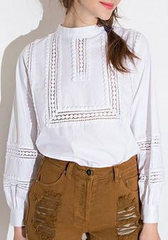 New 2015 Fashion Brand T Shirt Women Long Sleeve Sexy Lace Crochet T-Shirt Embroidery Knitted Slim Novelty Tops Plus Size Corsage, Crochet T Shirts, Edwardian Fashion, Edwardian Style, Shirt Embroidery, Chiffon Tops, Blouses For Women, Clothes, Sweater Vests