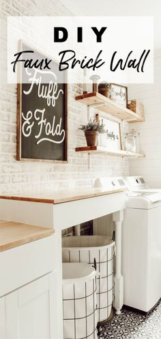 DIY Faux Brick Wall in Laundry Room Learn how to install a DIY faux brick wall to instantly add tons of character to your space. This is a fairly simple DIY that can be done in a weekend. Farmhouse Style Kitchen, Modern Farmhouse Kitchens, Farmhouse Design, Farmhouse Decor, Country Decor, Diy Kitchen, Industrial Farmhouse, Kitchen Reno, Industrial Design