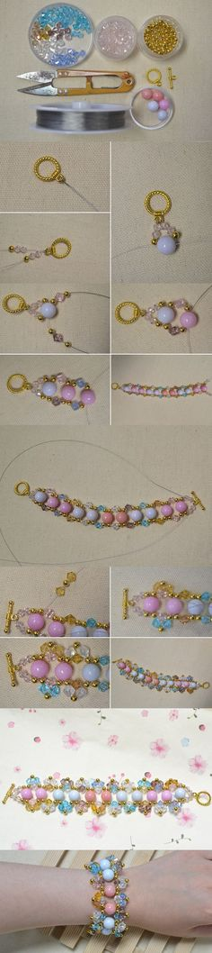 cool Easy Colorful Beaded Bracelet Making Tutorial from LC.Pandahall.com #pandahall...