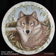 "'WOLF DRUM I' - Oil painting on quality REMO drum 16""x 3½""  by Karrel Christopher."