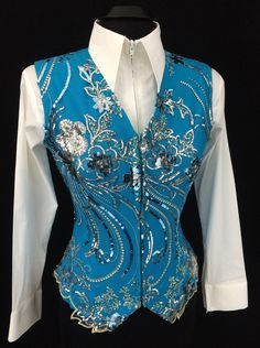 Turquoise and Silver Western Horse Show Vest by Elite Design ~ Just Peachy Show Clothing