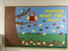 fall bulletin board ideas for preschool Owl September Bulletin Boards, Owl Bulletin Boards, Interactive Bulletin Boards, Preschool Bulletin Boards, Fall Bullentin Boards, Seasonal Bulletin Boards, Halloween Bulletin Boards, Owl Classroom, Toddler Classroom