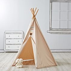 Every little explorer will feel right at home in our Happy Camper Teepee. This unique teepee features six sides and is part of our exclusive Camp Wandawega for Nod Collection.